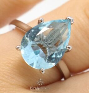 Sparkling 3CT Pear Cut Blue Aquamarine Ring Women Jewelry 14K White Gold Plated
