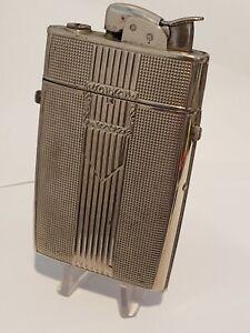 Vintage 1950's Evans Silver Banner Cigarette Case And Lighter Combo Art Deco