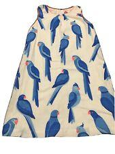 Mini Boden 11-12 Girls White Blue Birds Print Dress