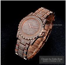 Ladies Rose Gold Luxury Diamond Wristwatch Rhinestone Bling Watches Quartz Watch