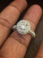 Pave 4,10 Cts F/VS Runde Brilliant Cut Diamanten Verlobung Ring In 750 18K Gold