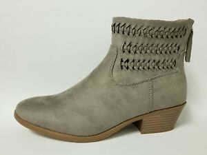 Women Ankle Dress Boots Toe Woven Suede Faux Quality Leather Size 5-11 Shoes