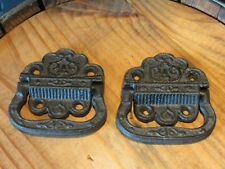 Lot of 2 Eastlake Vintage Style Cast Iron Trunk Handles, 3.25