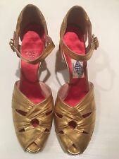 Fyfe's Detroit Shoes Flapper 1920's Antique Gold Leather Red Satin Mint Sz 6