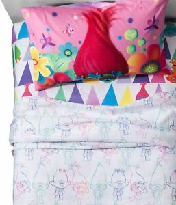 TROLLS TRUE COLORS TWIN SIZE SHEET SET WITH 1 PILLOWCASE