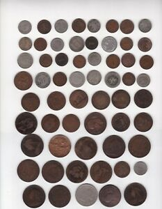 LOT OF 60 WORLD COINS ALL DATED PRE-1900