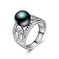 Fashion Women 925 Silver Jewelry Round Cut Black Pearl Wedding Ring Size 6-10