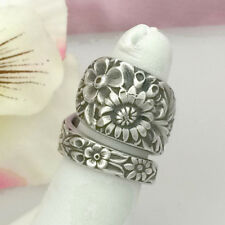 Sterling Silver Wildflower Spoon Ring REPOUSSE (Sz Med) Silverware Jewelry