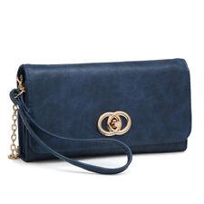 Women Soft Faux Leather Wallet Clutch Handbag Wristlet with Twist lock closure