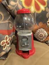 Vintage METAL GUMBALL MACHINE Glass Globe Candy Dispenser RED.