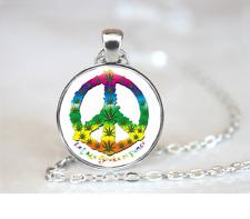 Peace Marijuana Neon PENDANT NECKLACE Chain Glass Tibet Silver Jewellery
