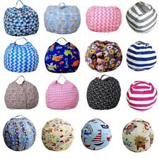 Kids Stuffed Animal Toy Bean Bag Storage Pouch Soft Striped Floral Fabric Chair