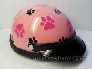 Helmet Hat Cap Dog Cat Costume Accessory Pet Supplies Safety Pink Footprint