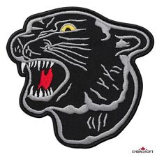 """BLACK PANTHER IRON ON PATCH 4.5/"""" Crouching Jungle Cat Embroidered Applique NEW"""