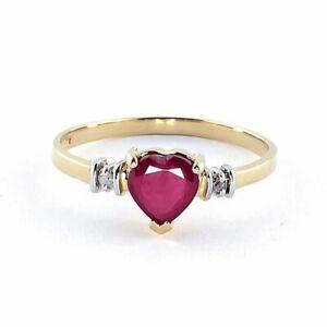 Fashion Women'S Simple Gold Zircon Heart Zircon Ring Anniversary Jewelry Size 10