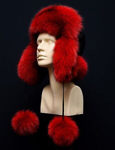 Genuine Real Blue Pure Red Fox Fur Womens Trapper Classic Ushanka Winter Pom Pom