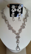 SPECIAL OCCASION & BRIDAL PEAR SHAPE CUBIC ZIRCONIA NECKLACE EARRING SET