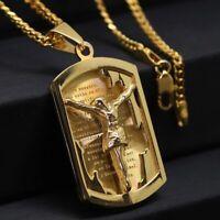 Herren Gelbgold Halskette + Anhänger Kreuz Gold plated 24 Karat vergoldet 60cm