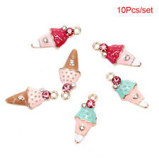 10Pcs Enamel Alloy Cute Ice Cream Charms Pendant Craft DIY Jewelry Making GifZJA