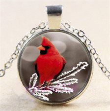 """pendant sterling Silver 20"""" Necklace female Red Cardinal Snow Bird Tree Winter"""