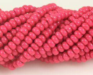 """Czech Glass Seed Beads Size 6/0 """" TERRA INTENSIVE DARK PINK """" Strands"""