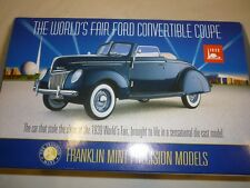 Franklin mint the worlds fair 1939 FORD Convertible coupe, boxed