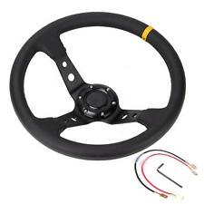 Universal Dish Steering Wheel 350mm Deep  PVC Leather fits MOMO BOSS HUB Black