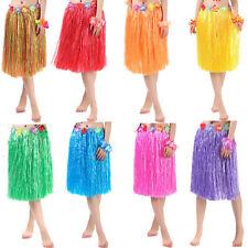 Hawaiian Dress Skirt Hula Grass Skirt With Flower Accessories Adult  Costume 3C