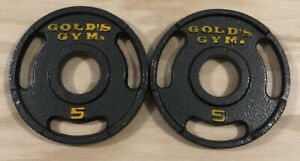 """Set of Two (2) Gold's Gym 5 Pound 2"""" Olympic Grip Weight Plates- 10 Pounds Total"""