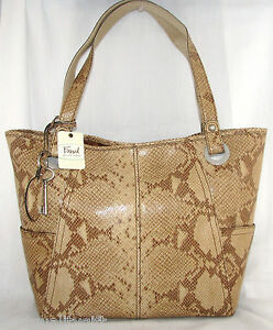 NEW FOSSIL TAUPE BROWN,BEIGE PYTHON EMBOSSED LEATHER TOTE SHOPPER HANDBAG+TAG