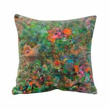 Abstract Floral Multicoloured Cushion. Luxury Velvet, Impressionist Style Design