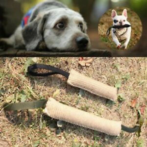 Handles Jute Police Young Dog Bite Tug PlayToy Pet Training Chewing Arm W8E