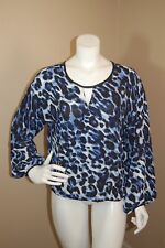 CACHE Blue Multi Cross Over Drapey Animal Print Top Blouse~Size S