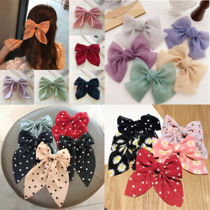 4 Styles Fashion Dot Floral Print Bow Hair Clips Satin Chiffon Ponytail Hairpins