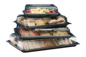 Black Rectangular Plastic Platters with/without Clear Plastic Lids FREE DELIVERY
