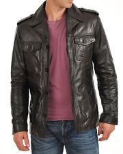 Men's Genuine Lambskin Leather Jacket Brown Slim fit Biker Motorcycle jacket LC1