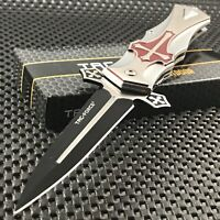 """9"""" TAC FORCE SPRING ASSISTED TACTICAL CRUSADER CROSS COLLECTOR FOLDING KNIFE New"""