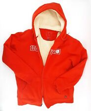 Burton Red Mens Sherpa Lined Hoodie Snowboard Hooded Zip Up Jacket size Medium