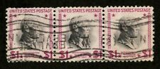 US 1938 #832g Magenta - $1 Woodrow Wilson Watervliet NY Cancel Strip of 3 Used