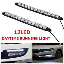 2x 12LED 12VDC Coche DRL Luz Diurna día flexible Lámpara de Conducción Blanco