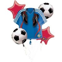 5 Piece Soccer Ball Sersey Cleats Birthday Balloon Bouquet Party Supplies