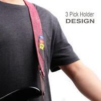 Adjustable Classic Leather Denim Guitar Strap for Electric Acoustic Guitar Bass