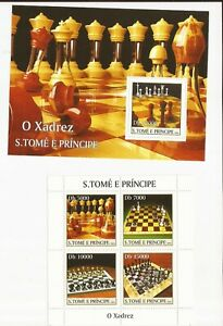 ST. THOMAS & PRINCE ISLAND-Like to play Chess?  2 souvenir sheets offered