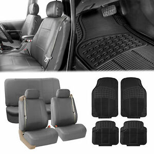 Truck Seat Cover for Integrated Seat Belt Gray w/ Black Floor Mats