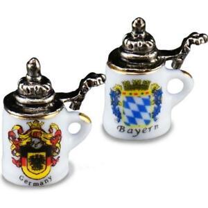 German Beer Stein Pair 1.803/5 Reutter Porcelain Dollhouse Miniature