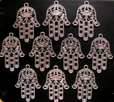50 Tibetan Silver Hamsa Hand Filigree Charms Pendants Double Sided 21mm TSC21
