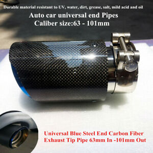 63-101mm Real Carbon Fiber Universal Car Auto SUV Exhaust Pipe Muffler End Tips