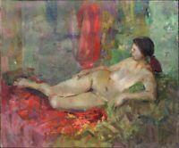 """Russischer Realist Expressionist Öl Leinwand """"Akt"""" 130 x 110 cm"""