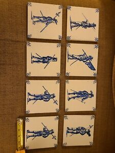 ANTIQUE DELFT BLUE WHITE 18th CENTURY DUTCH HOLLAND TILE  LOT of  8 #10 soldiers