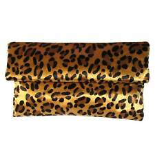 SUMPTUOUS LEOPARD PRINT PLUSH FAUX FUR CLUTCH SHOULDER HANDBAG